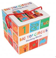 Discover, explore and learn with this colourful collection of circus themed stacking blocks.