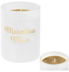 A glamorous and stylish Marvellous Mum slogan candle with a gold glitter candle.