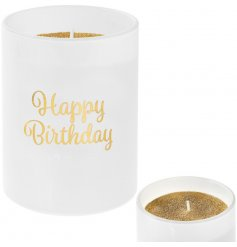 Say Happy Birthday with this gorgeous gold and white glitter candle. A chic gift item and keepsake.