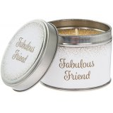 Gift your most fabulous friend with this gold and white candle tin with glitter candle.