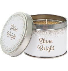 A chic Shine Bright slogan candle tin with a gold glitter candle. A lovely gift item for many occasions.