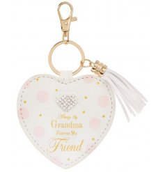 A pretty heart shaped key ring with a lovely Grandma sentiment slogan and heart shaped diamante. A lovely gift item