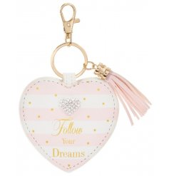 A beautiful heart shaped key ring with a lovely sentiment slogan. Complete with a heart gem and tassel.