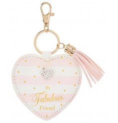 A beautiful friendship sentiment key ring with a heart shaped gem and tassel.