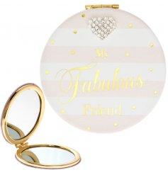 A lovely sentiment slogan compact mirror in pink and gold. Complete with a diamante heart gem.