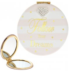 A beautiful sentiment slogan compact mirror from the popular mad dots range.