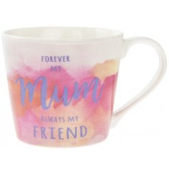 A beautiful and bright watercolour design sentiment mug with matching gift box.
