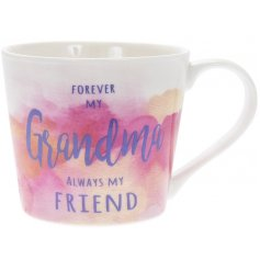 A pretty water colour design mug with a lovely Grandma slogan.