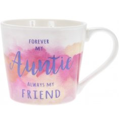 A pretty water colour design mug with a lovely Auntie slogan.