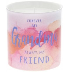 A gift for Grandma. This beautiful slogan candle with watercolour design makes a chic and stylish gift to be treasured.