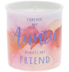 A beautiful watercolour design slogan candle. Forever my Auntie, always my friend.