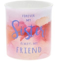 A stylish water colour design candle with a lovely sister sentiment slogan.