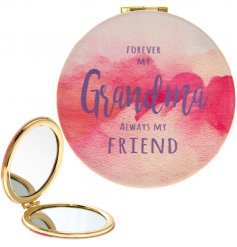 A stylish slogan compact mirror with a bold and beautiful watercolour print. A lovely sentiment gift item.