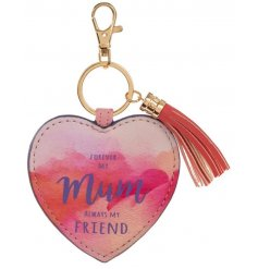 Forever my mum, always my friend. A pretty watercolour design heart shaped key ring with tassel.