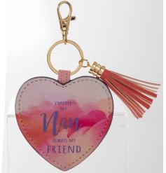 Forever my Nan, always my friend. A stylish watercolour design heart shaped keyring with tassel.