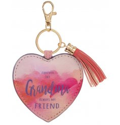 Forever my Grandma, always my friend. A beautiful heart shaped keyring with tassel and a watercolour print.
