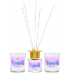 A beautifully scented twin candle and reed diffuser gift set with a pretty watercolour design and Fabulous Friend slogan