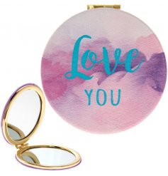 A chic and stylish water colour design compact mirror with a gold rim and Love You slogan.