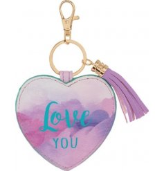 A chic watercolour design keyring with a love you slogan. Complete with tassel charm.