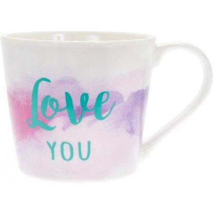 Watercolour Mug, Love You