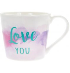 A bold and beautiful watercolour design mug with Love You slogan.