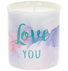 A chic watercolour design scented candle with Love You slogan. A lovely gift item with gift box.