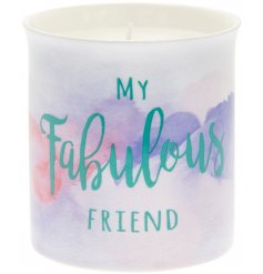 A beautifully scented candle with a bold watercolour design and fabulous friend slogan.