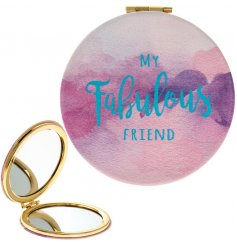 A beautifully designed watercolour compact mirror with gold rim. A chic gift item for friends.