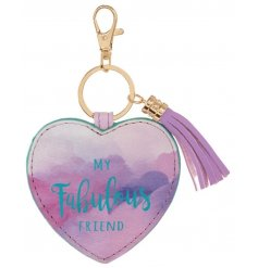 A bold and beautiful heart shaped keyring with a fabulous friend slogan and tassel detail.