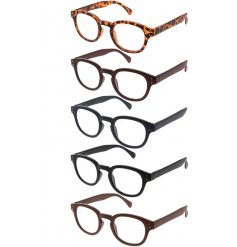 an assortment of mens reading glasses, each complete with their own case