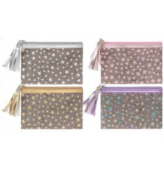 Add a touch of sparkle to your life with these on trend star design coin purses with tassel zip.