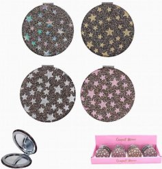 A chic glitter star compact mirror in 4 glitter colour designs. A lovely gift item and handbag essential.