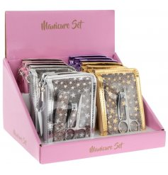 Get glamorous nails with this sparkle star manicure set. An on trend design and lovely gift item.