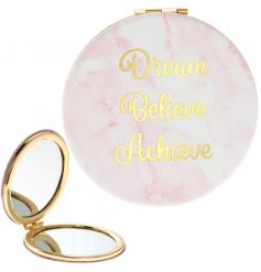 A gorgeous pink marble design compact mirror with a gold Dream, Believe, Achieve slogan.