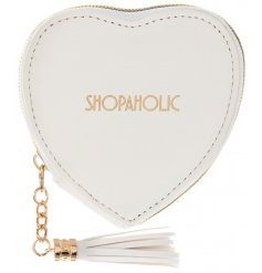 Shop until you drop with this gorgeous heart shaped slogan purse with a tassel zip. A fabulous gift item.