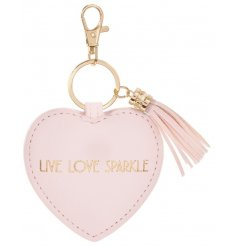 A pretty pink keyring with a gold LIVE LOVE SPARKLE slogan and tassel.
