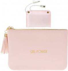 Bring a glam inspired touch to your handbag necessities with this stylishly sleek faux leather purse and added powerban