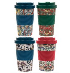 4 assorted bamboo travel mugs, each with an attractive William Morris design.