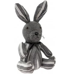 A stylish grey rabbit doorstop with a mix of stripe and tweed patterns. Complete with a black and white bow.