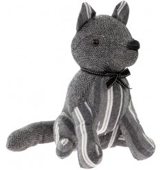 A stylish grey stripe fox doorstop with a black and white bow tie. A popular interior accessory and gift item.