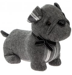 A chic and stylish pug dog doorstop with a stripe and tweed patchwork coat.
