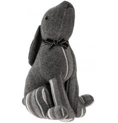 A stylish sitting hare grey doorstop with stripes and herringbone. Complete with a charming bow.
