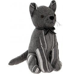 A stylish sitting cat fabric doorstop in a grey stripe and herringbone design. Complete with a charming bow.