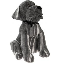 An adorable sitting dog doorstop with grey stripes and herringbone. Complete with a charming bow.