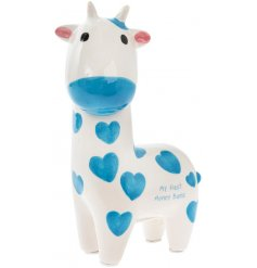 Gift little ones with their first money bank. This adorable giraffe design is painted with love hearts.