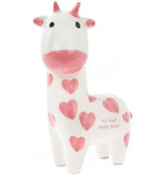 Gift little ones with this adorable first money bank with a pink love heart design.
