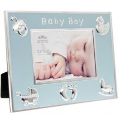 An adorable baby boy photo frame in blue and silver. A chic sentiment gift item to be treasured.