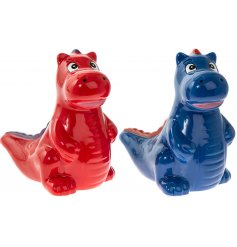 A mix of 2 blue and red dinosaur design money boxes. A colourful and cute gift item for kids!