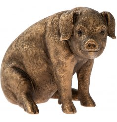 A fine quality pig figurine from the popular bronzed reflections range. A charming country living gift item.