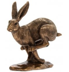 A fine quality jumping bronze hare ornament from the popular Bronzed Reflections range.